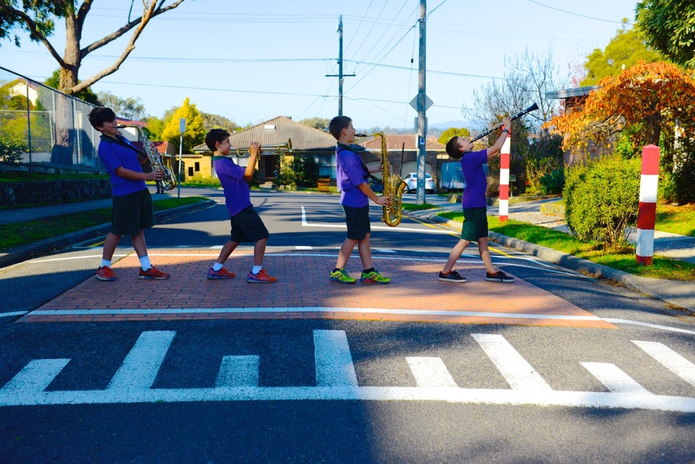 Some of Viewbank's instrumental students crossing safely at the pedestrian crossing.