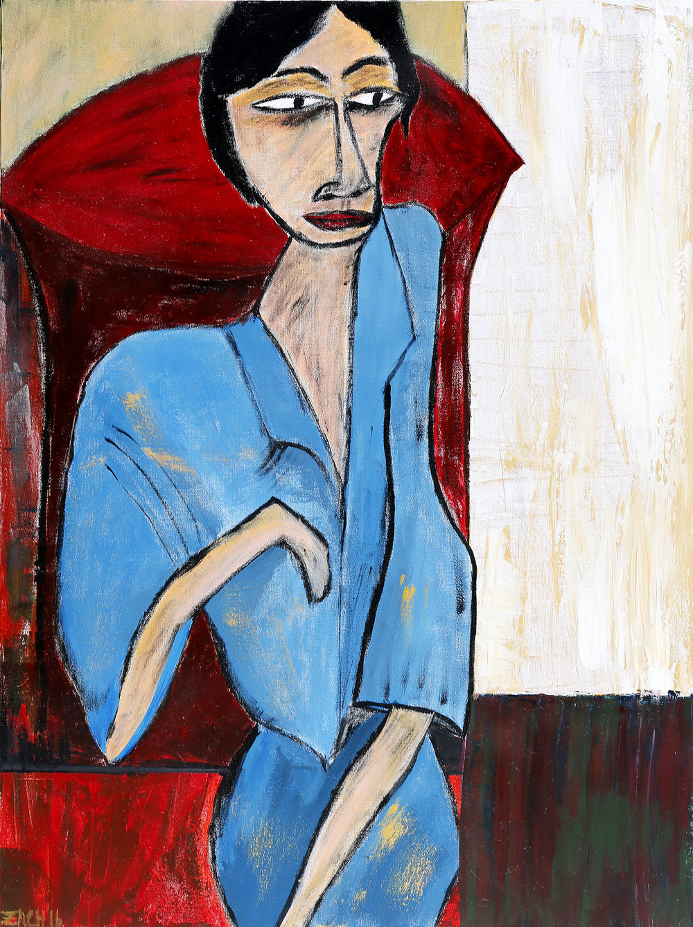 Woman in Blue (2016, acrylic, 30 by 40)