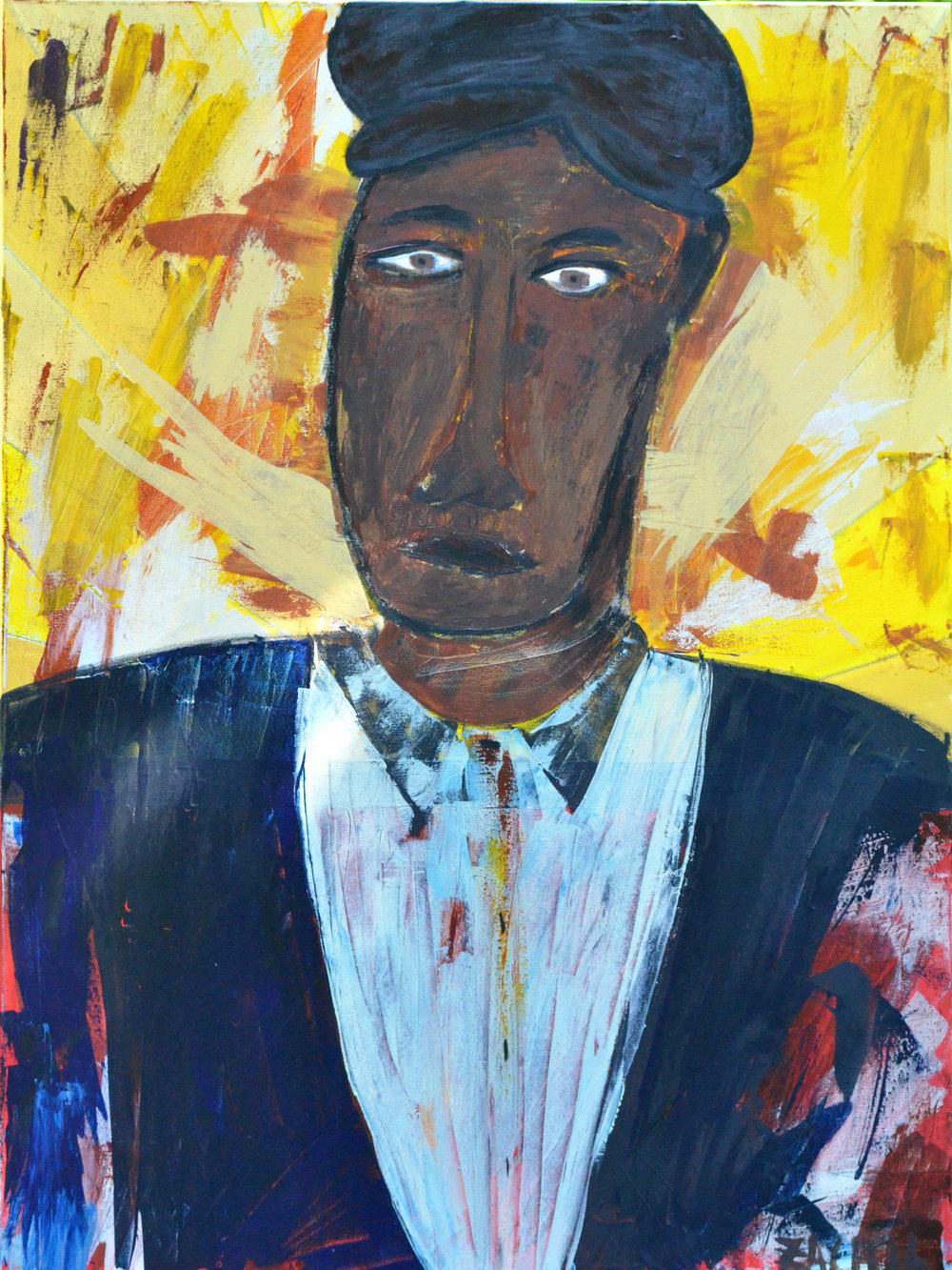 Man in Suit (2016, acrylic, 30 by 40)