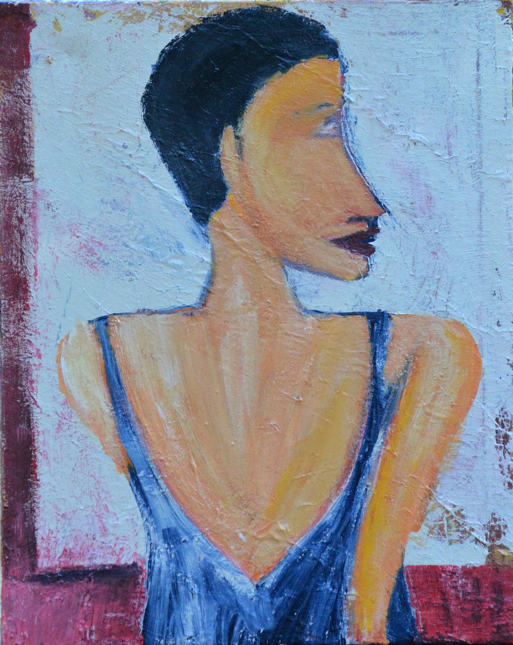 Woman in Blue Dress (2016, acrylic, 16 by 20)