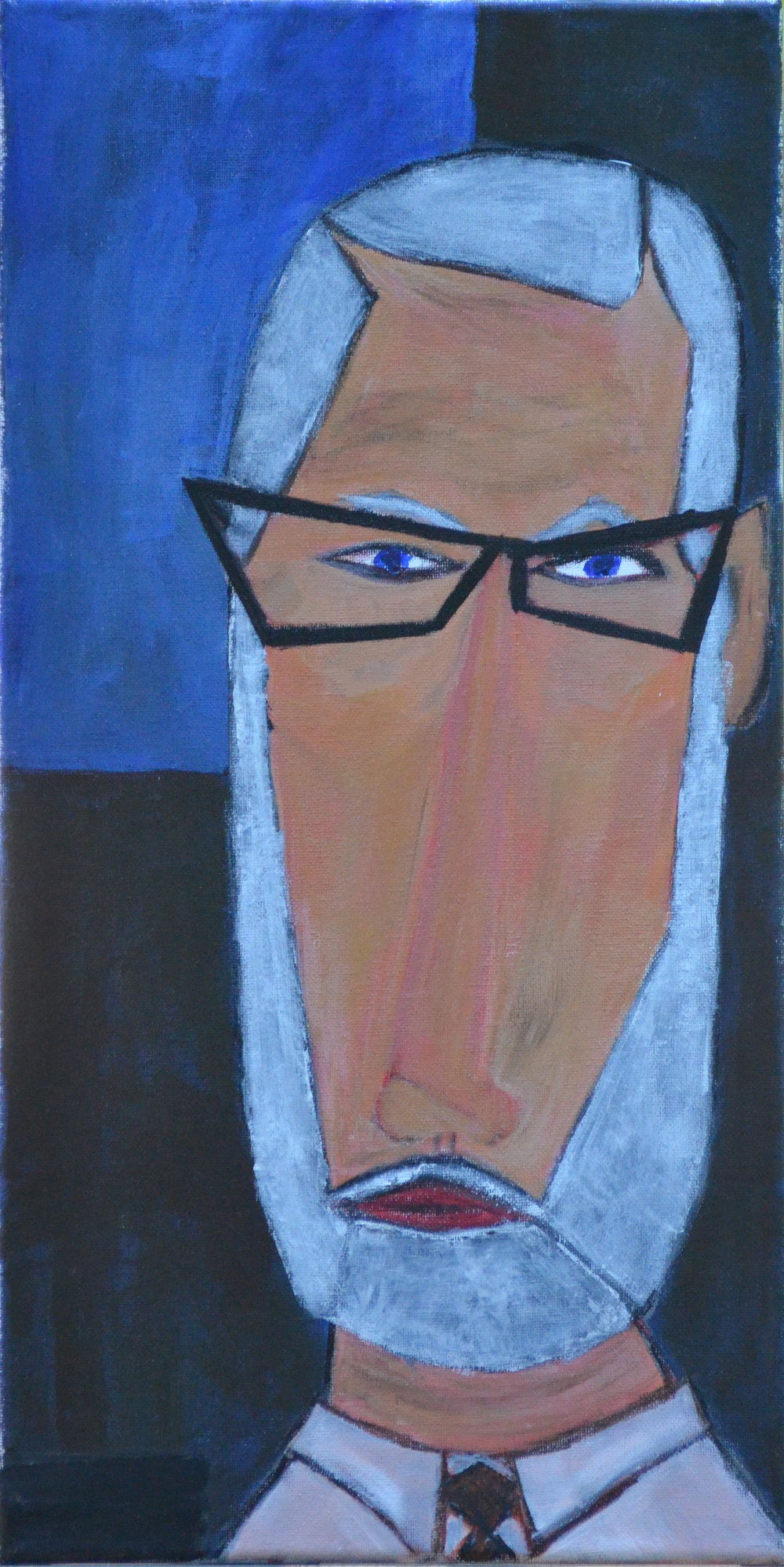 Self Portrait (2016, acrylic, 10 by 20)