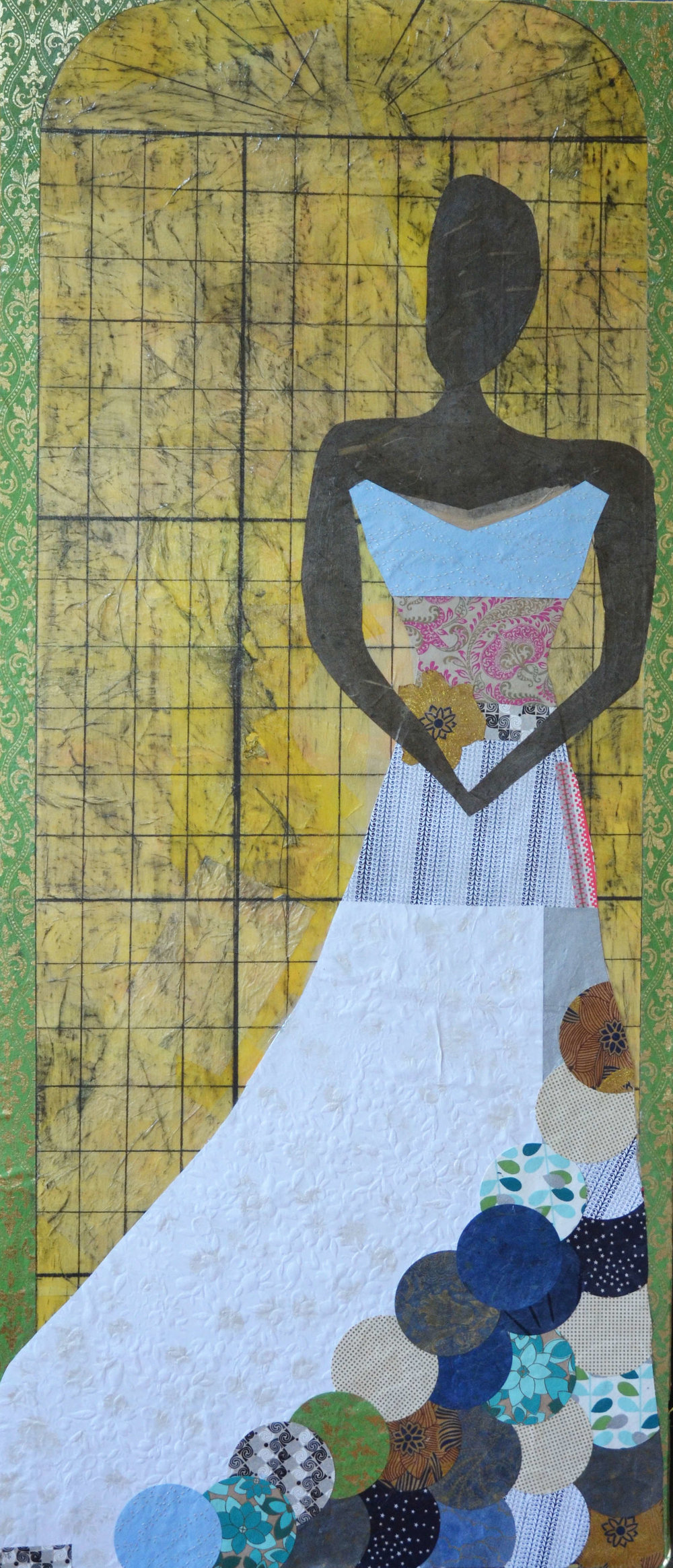 Woman in Patchwork Dress