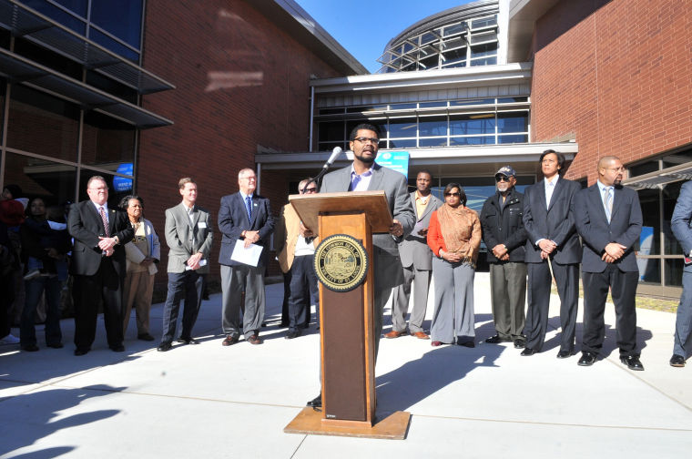Alderman French speaking at the opening of the O'Fallon Park Recreation Complex (Jan 2013). Photo by Wiley Price