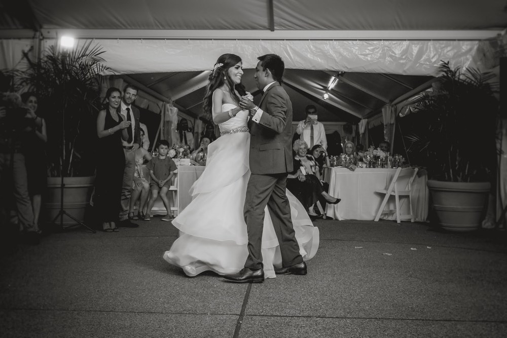 A basic dance frame is a great way to hold your new spouse during your first dance.