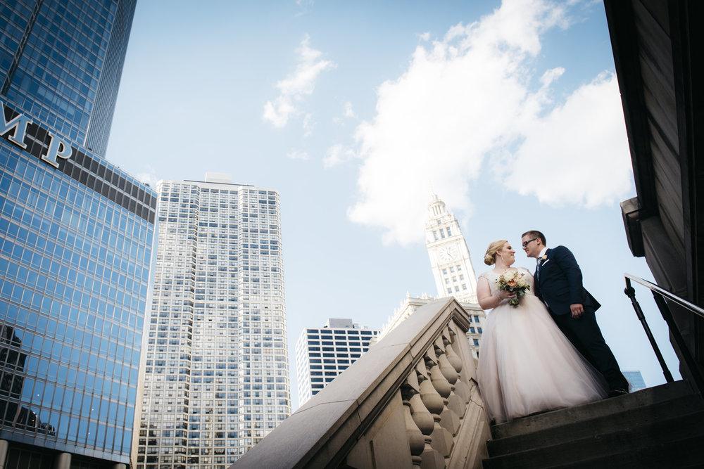 Wedding Couple against Chicago Skyline