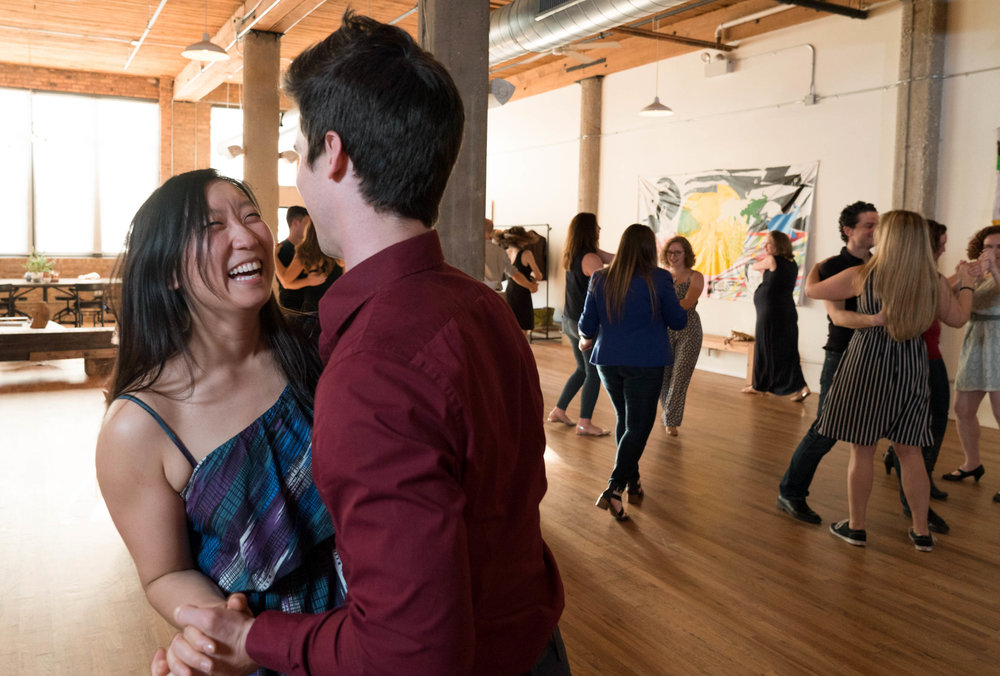 A packed dance floor at Ballroom Dance Chicago. Prepare your wedding party to dance at your wedding.