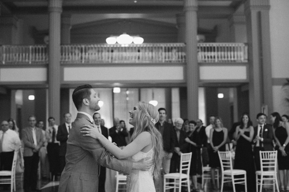Couple laughing and smiling during their first dance in Chicago