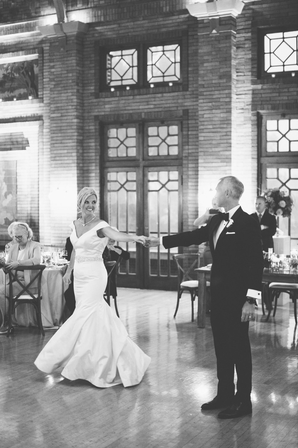 Couple doing a pose during their first dance.