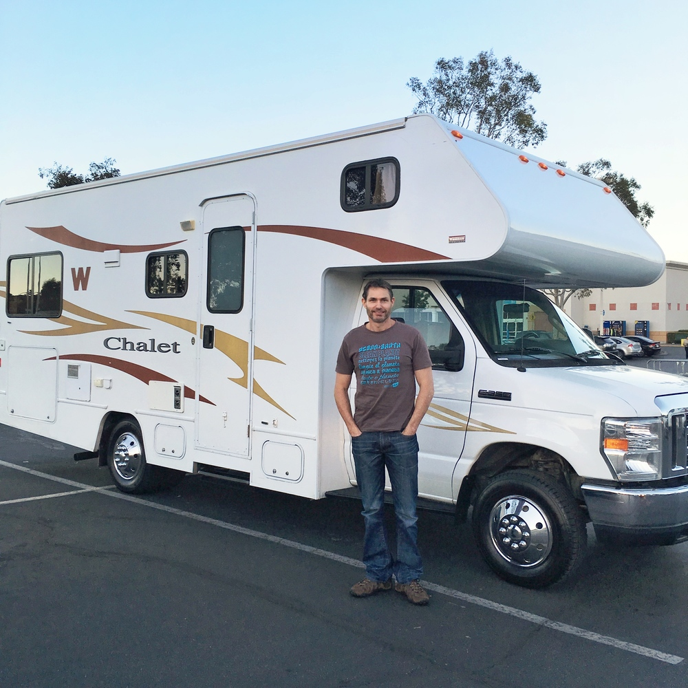 Picking up our Class C RV in LA - it was a Winnebago Chalet on a Ford E-350 chassis.
