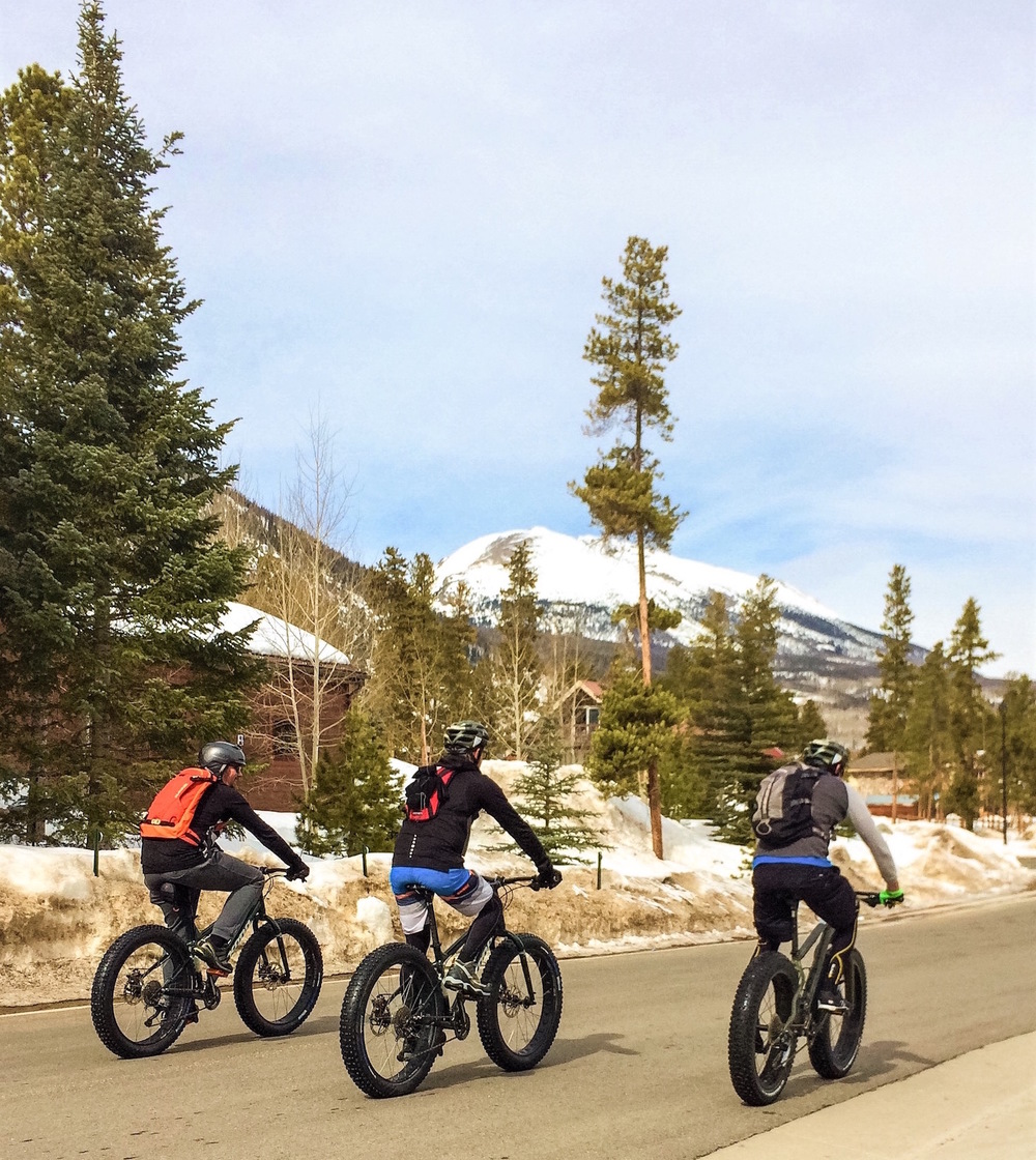 Returning from our snow riding adventures on Fat Bikes.
