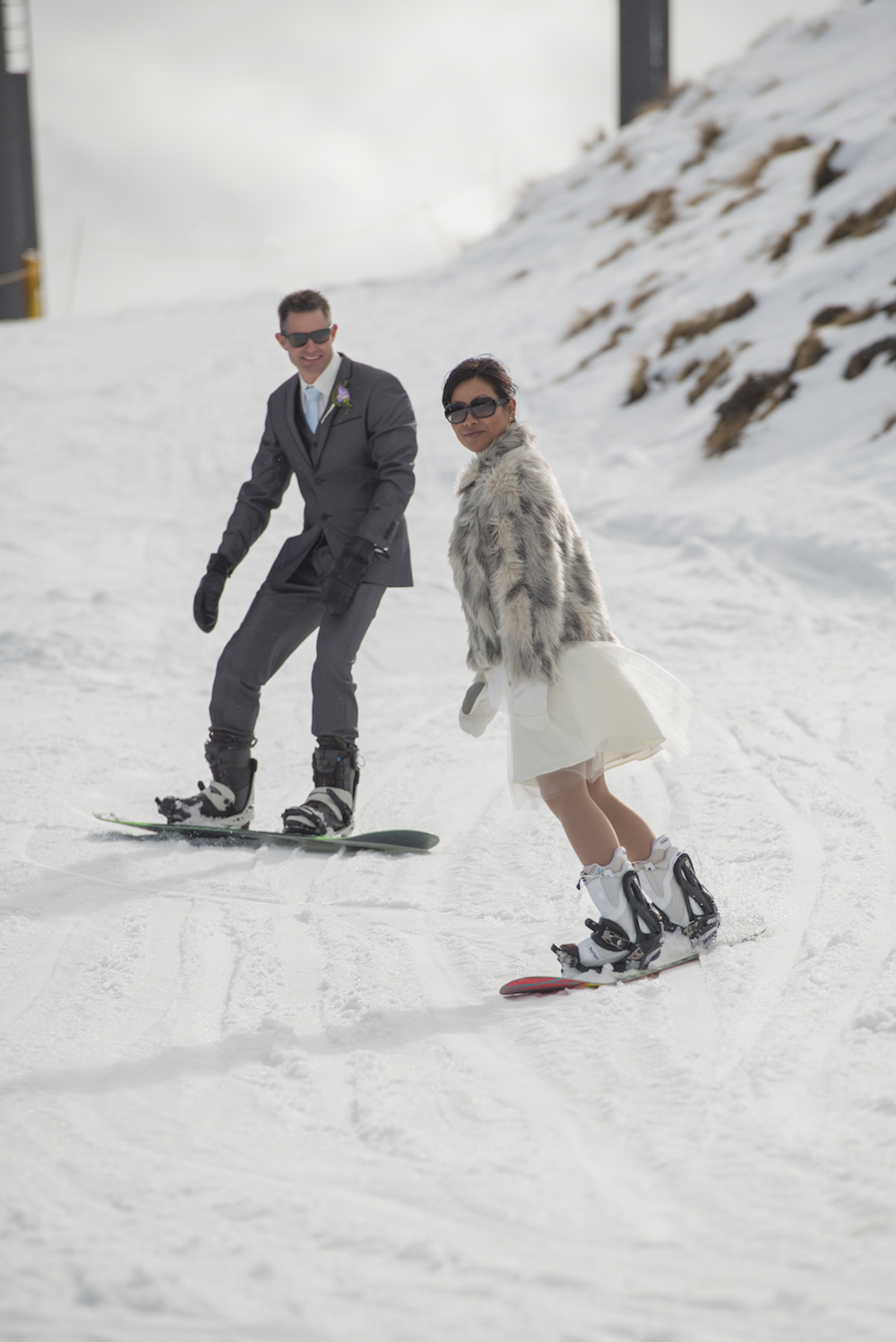 snowboarding down coronet on our wedding day
