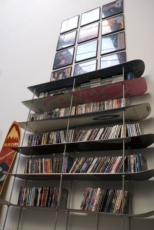 Bookshelf made from snowboards
