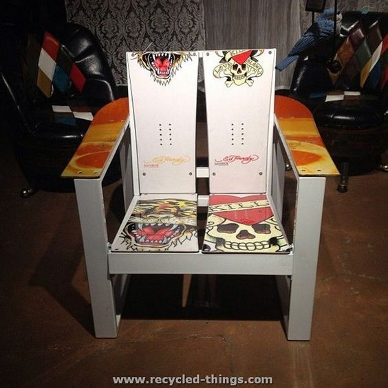 Chair made from snowboards