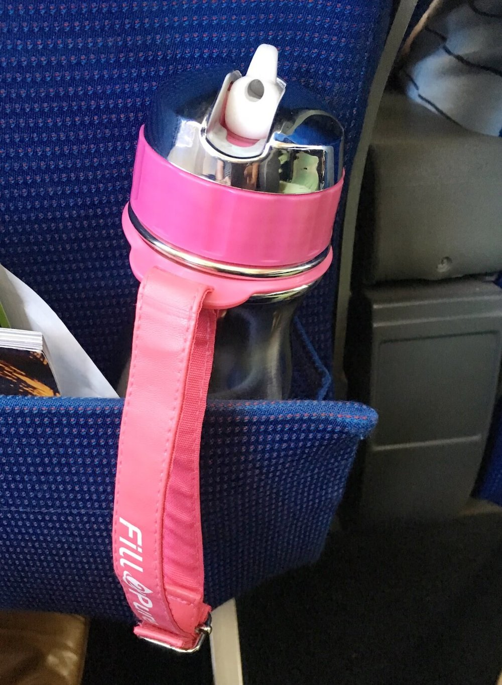FITS PERFECTLY INTO THE SEAT BACK POCKET ON AN AEROPLANE