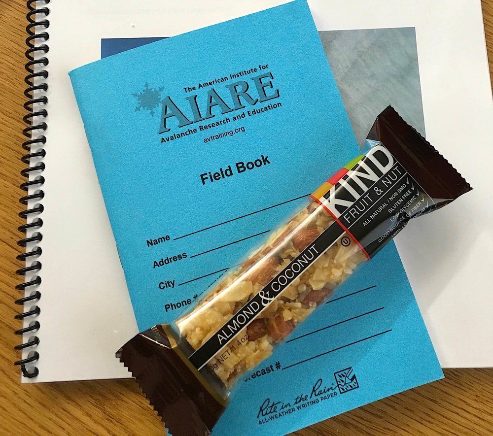 FIELD BOOK TO STORE PLANS AND DATA. ALSO A FRUIT & NUT BAR - ALWAYS HANDY TO HAVE.