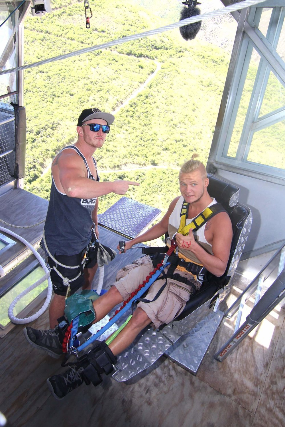 NEVIS BUNGY JUMP - GETTING STRAPPED IN