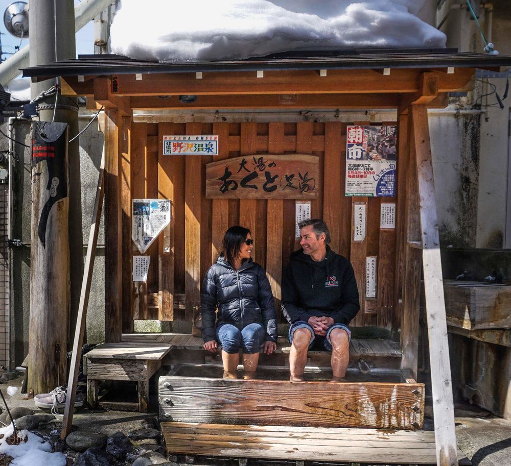 THIS FOOT ONSEN IS AWESOME! GRAB A BEER AND RELAX IN IT AFTER A DAY OUT ON THE SKI FIELD. SO RELAXING!