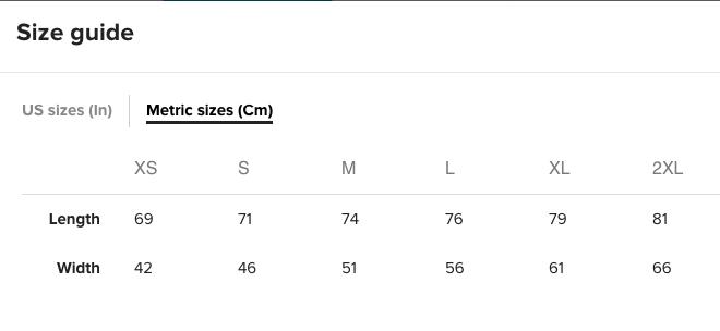 metric sizes chart