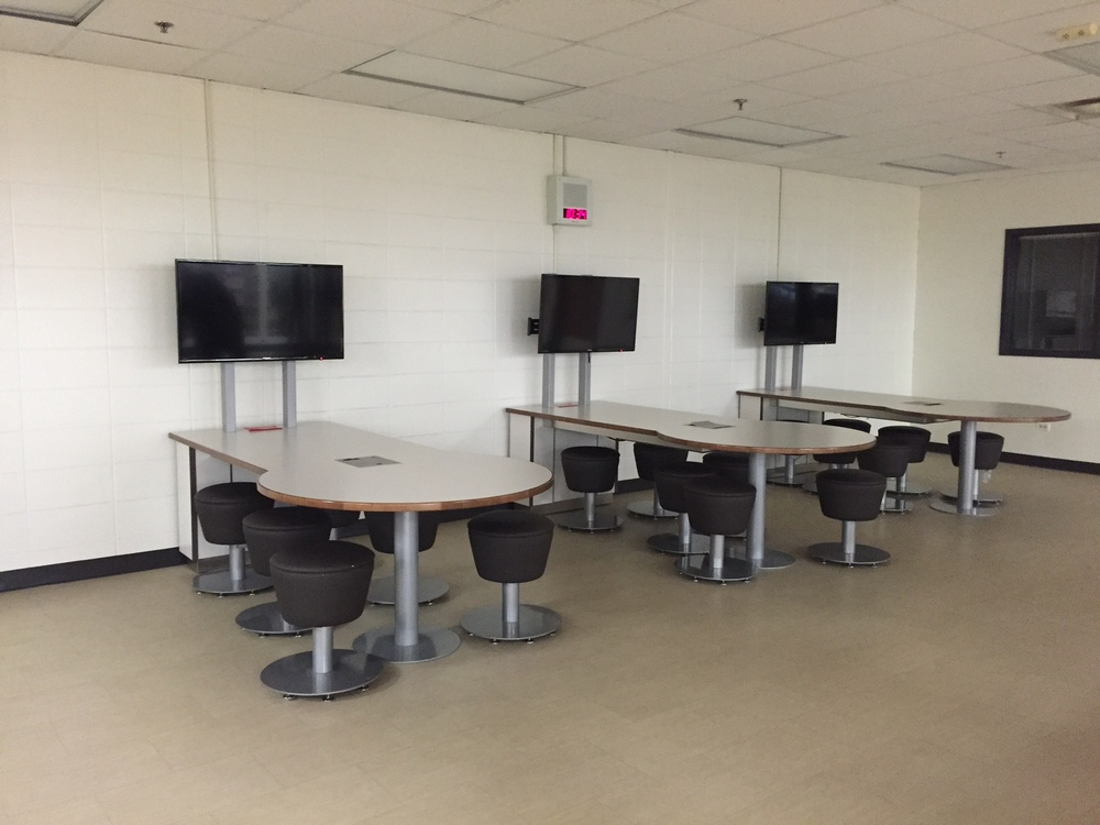 Collaborative meeting areas encourage group work and are technology ready.