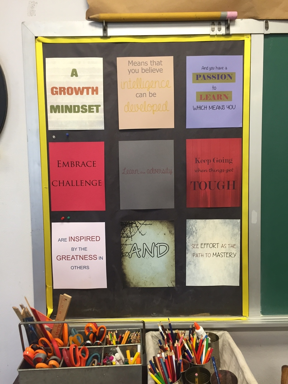 """This is my mindset board. I'm a huge fan of all things  Carol Dweck ,and I love talking to to the students about how their metacognition plays into their learning. They quickly learn about the power of """"Yet"""" as in """"I'm just not the reader I want to be yet... but I will be!"""""""