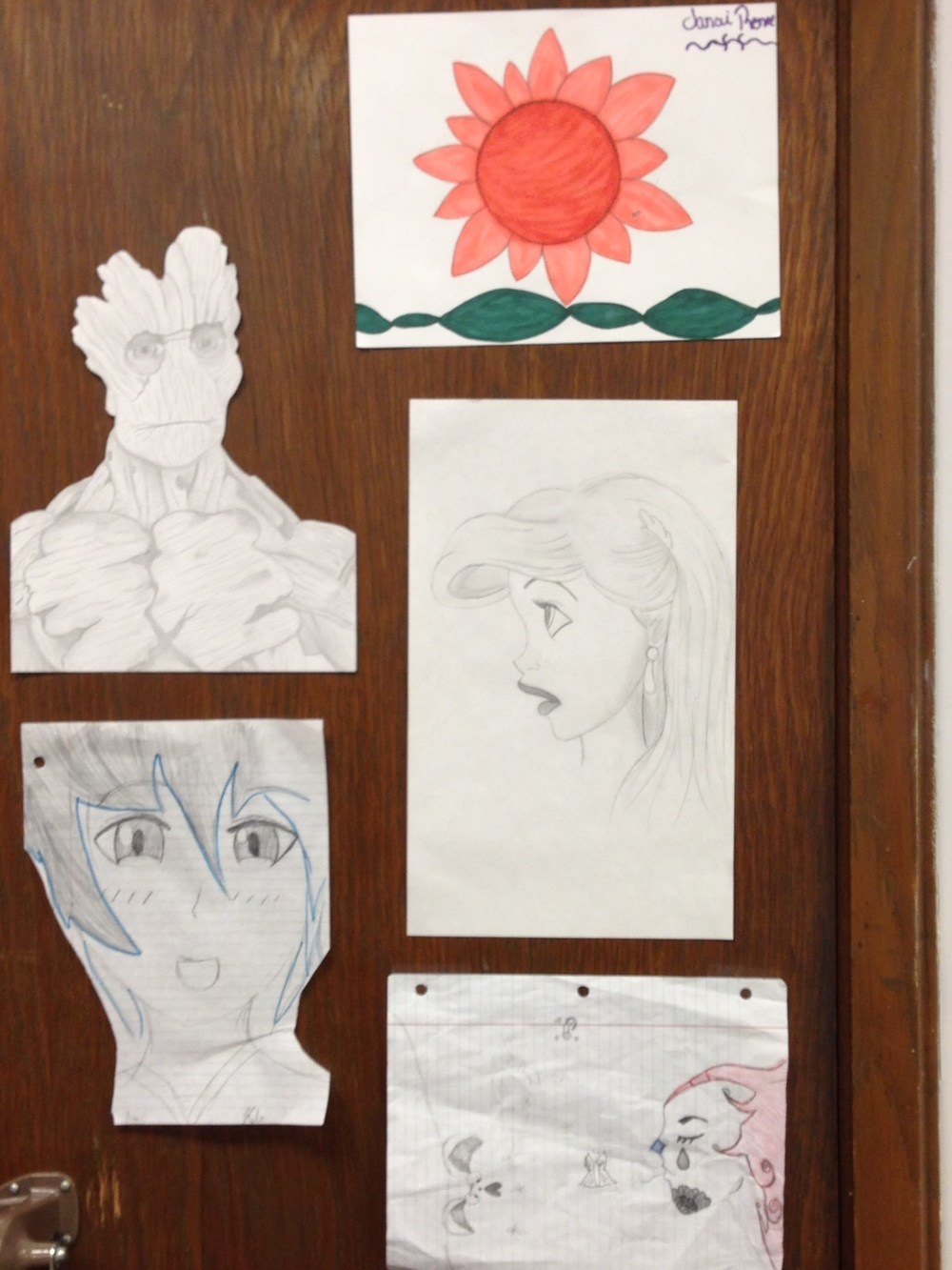 Students love to see that you value their work and creativity. I have an ugly brown closet door, and I cover it with artwork that my students give me throughout the year.