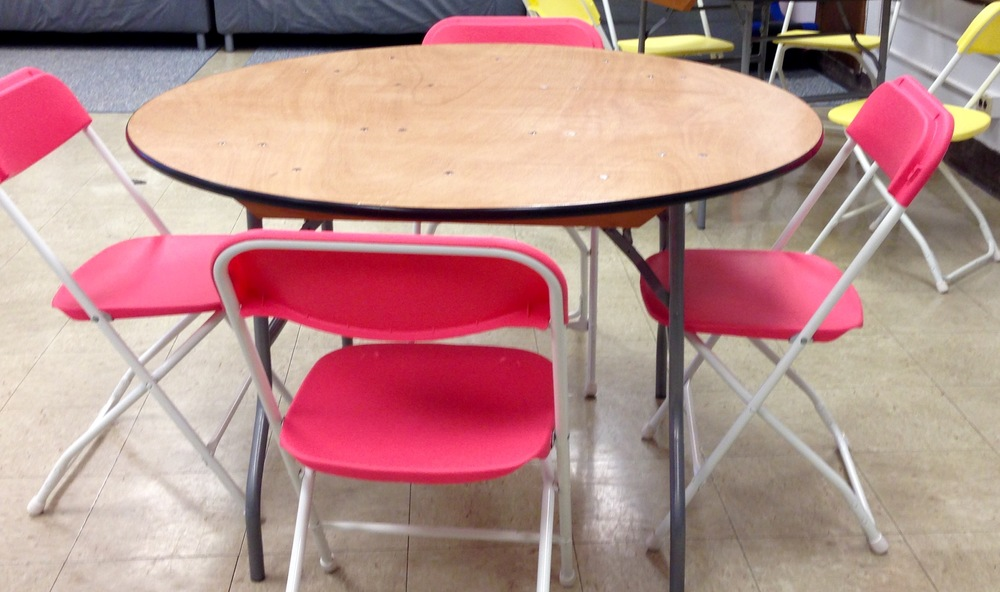 My color coded round tables make group work a snap. I have five of them.