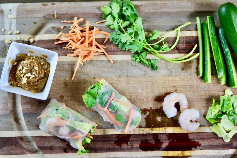 Thai Shrimp Rice Paper Wraps with Peanut Butter Dipping Sauce