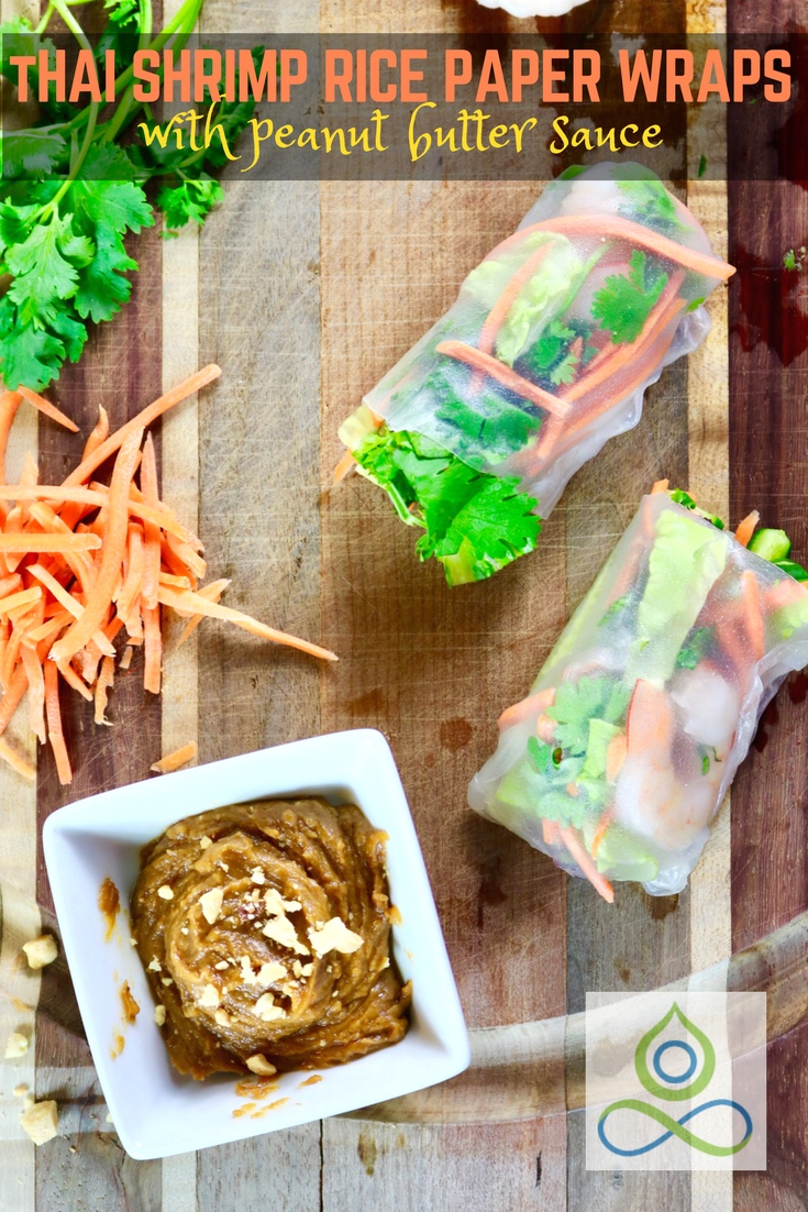 Easy Thai Shrimp Rice Paper Wraps with Peanut Butter Dipping Sauce
