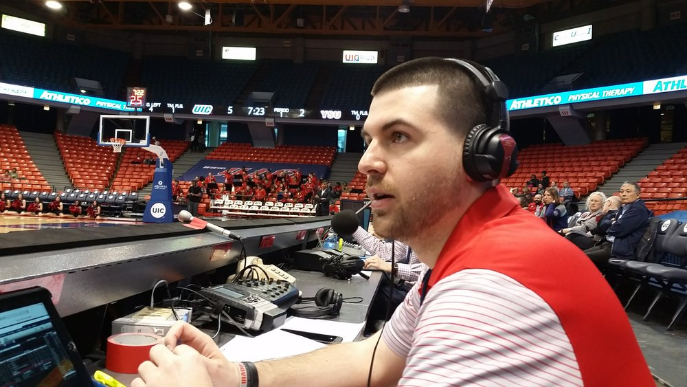 Broadcasting a Youngstown State Women's Basketball game at UIC on February 4, 2017 for 570 WKBN/iHeartRadio.