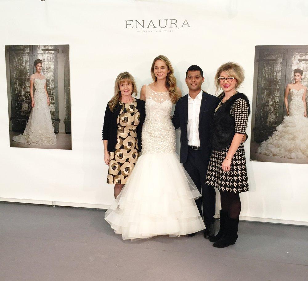 Enaura Bridal Designer, Sohil, with the LeAnn's at NYC Bridal Fashion Week