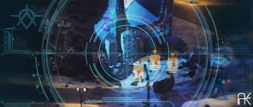 Frame from trailer of 'Crackdown for Xbox' prepared by Axis Animation for E3. AK-ART prepared matte painting elements projected onto geometry for the final comp.