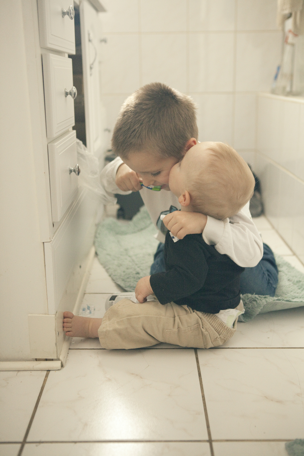 """Bathroom is messy""... so what! If I would have thought that... I would have missed this sweet kiss!"