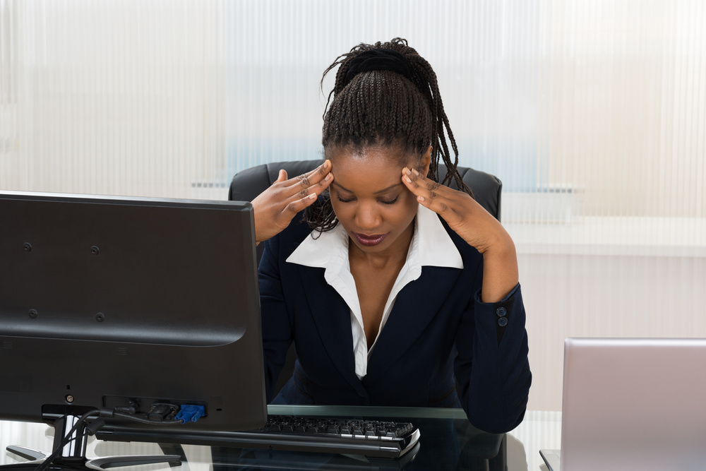 winning works stressed woman