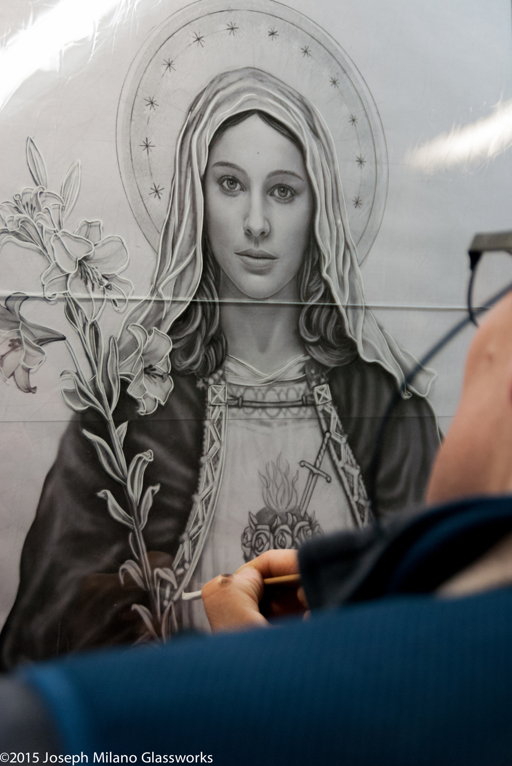 Painting detail of Immaculate Heart of Mary