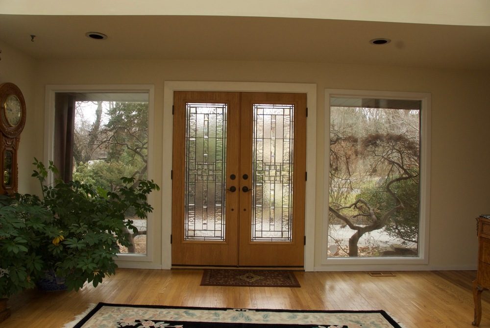 Contemporary beveled glass doors