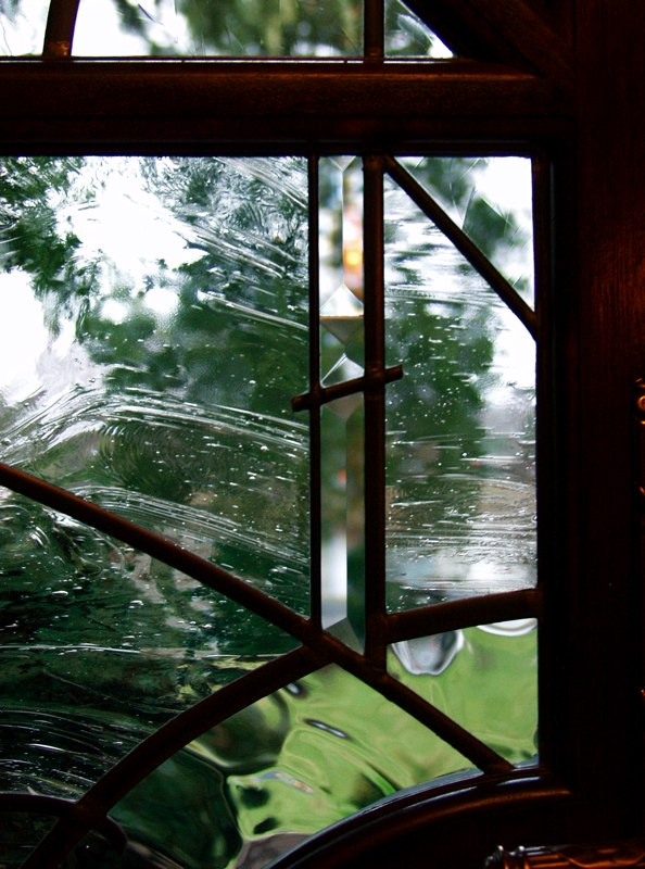 Contemporary leaded glass door