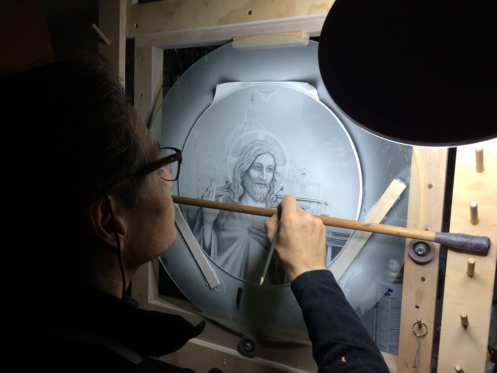 Etching with Milano-Ti™, titanium etched glass the Divine Mercy medallion