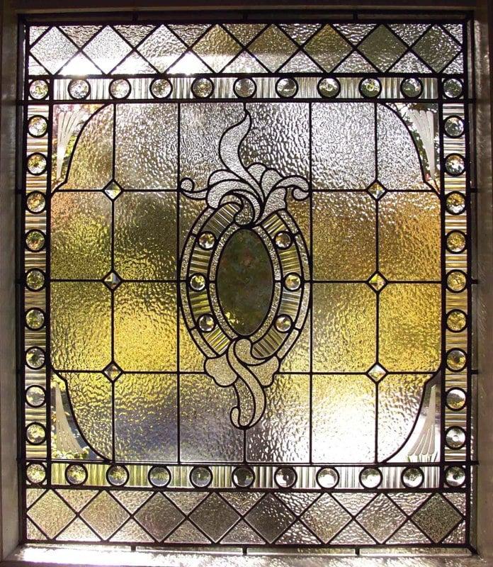 Beveled and jeweled bathroom window