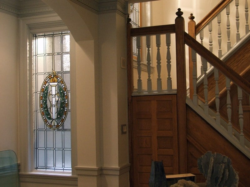 Federal style stained glass stairway windows