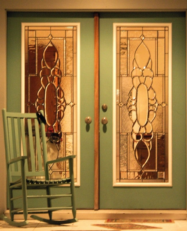 Beveled leaded glass doors