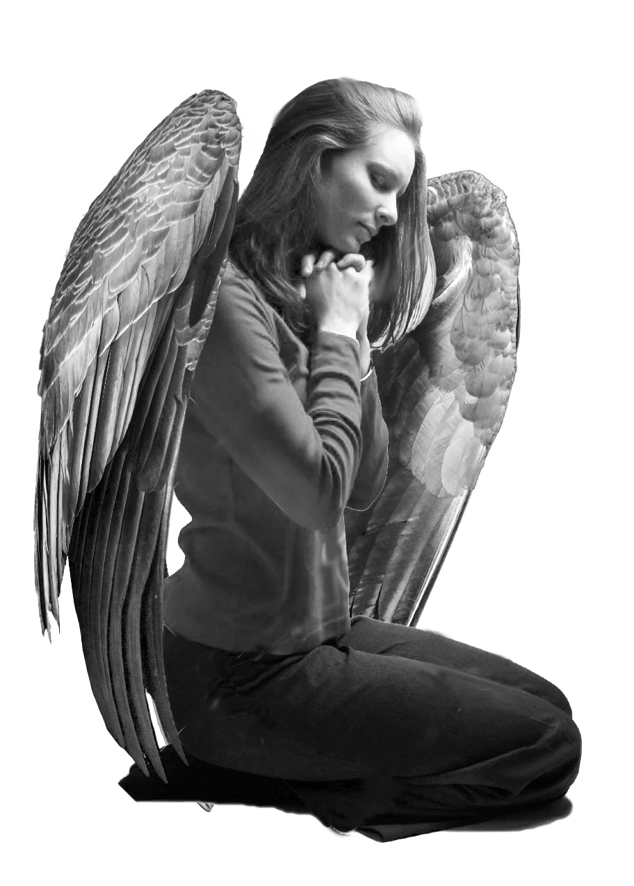 And here is the rough concept of my kneeling angel.