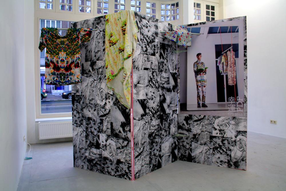 Installation view:LuckyPDF 幸運PDF S/S 2013 (Kered T-Shirt) (2012) Silk satin Photo: Cassander Eeftinck Schattenkerk