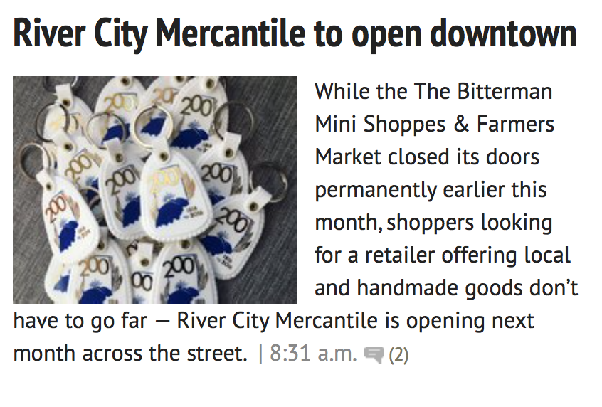"""River City Mercantile hopes to bring new vibe to downtown"" • Courier & Press 01.21.2016"