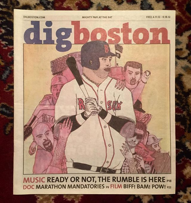 #tbt found while cleaning my studio, a portrait of our lord and savior Big Papi for the cover of @digstagramboston a while back