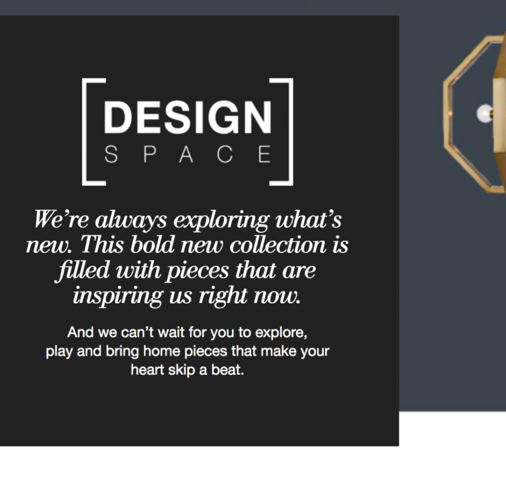 Content strategy and all copy for Design Space, a new concept store from C & B.