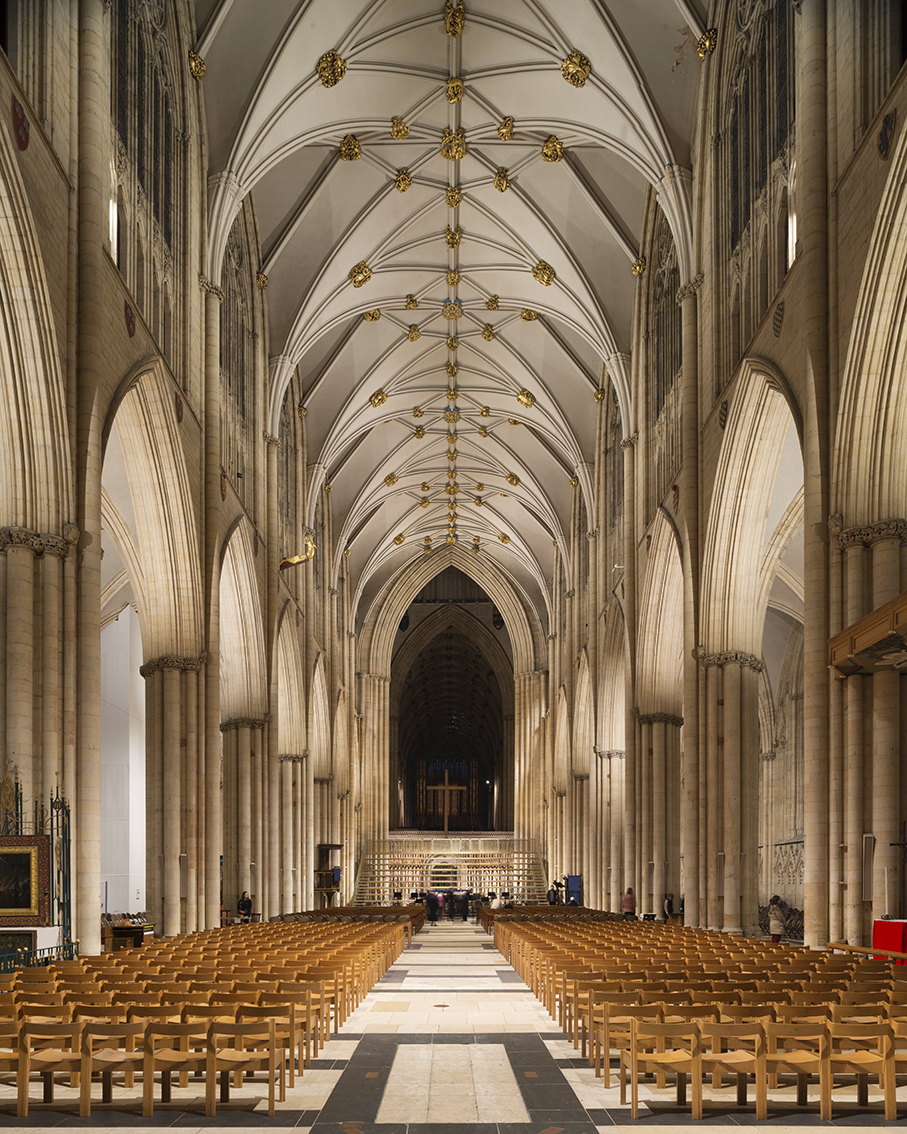 The nave of York Minster, lit by Sutton Vane Associates.