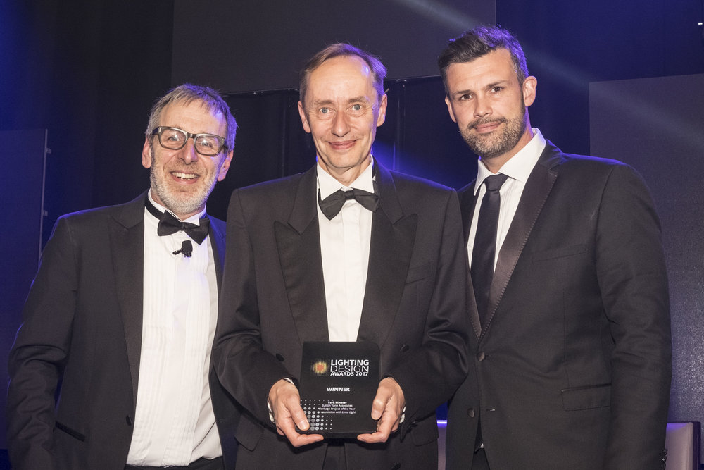 Mark Sutton Vane (centre) of Sutton Vane Associates receiving the Lighting Design Award 2017 for Heritage Project of the Year. The award was presented by British Comedian Ian Stone (left) and Jeremy Fielding, Business Development Director of Atrium (right).