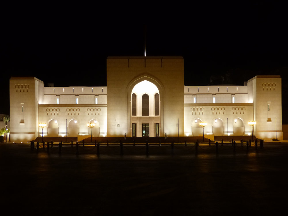 The facade of the National Museum of Oman, which we lit.