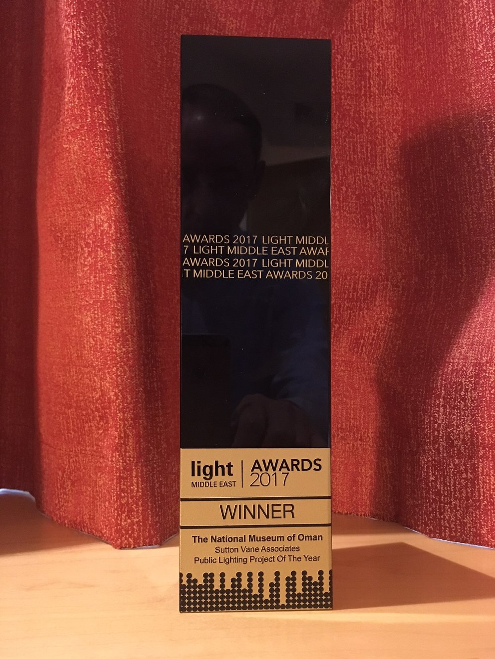 Our award which was presented to Sutton Vane Associates for the lighting design at the National Museum of Oman.