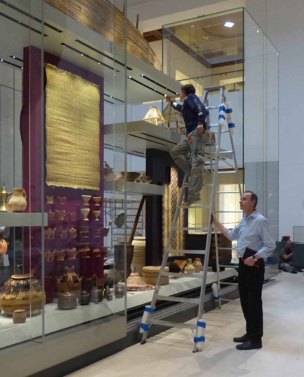 Mark Sutton Vane in the National Museum of Oman focusing the lights for one of the exhibits.